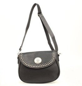 "M & F Handbag - Shoulder Bag, Black - 11""x4""x8.5"""