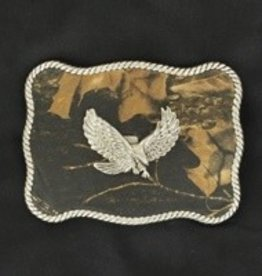 M & F Belt Buckle - Camo with Eagle & Rope Edge