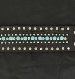 M & F Bracelet - Studs & Turquoise, Black Leather