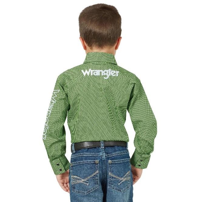 Wrangler Children's Wrangler Boys Logo Long Sleeve Shirt - Green/Black