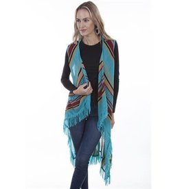Scully Leather Women's Scully Fringe Vest - Turquoise, Medium
