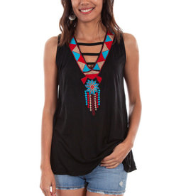 Scully Leather Women's Scully Embroidered Sleeveless Top - Black Medium