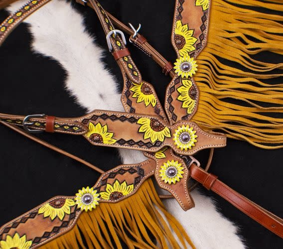Showman Hand Painted Sunflower Browband HS & BC Set - Horse Size