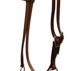 Showman Side Pull, Double Stitched Leather with double rope nose.