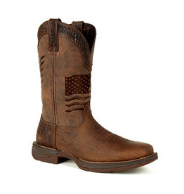 Durango Men's Durango Rebel Brown Distressed Flag Embroidery Western Boot
