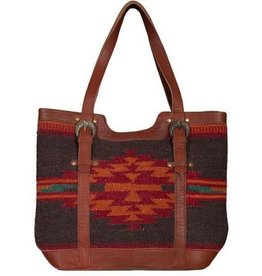 Scully Leather Handbag: Scully Woven Aztec