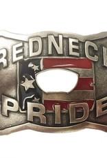 "Belt Buckle -  Antique Silver ""Redneck Pride"" with Bottle Opener"