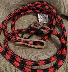 Lamprey Rolled Game Rein, Leather Ends, Red - 8'