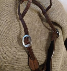 Circle L Circle L Two Ear Headstall, Split Cowhide, Barb Wire Embossed, U.S.A. Made - Horse Size