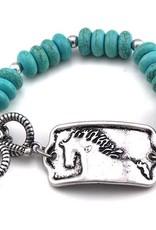 AWST Bracelet - Turquoise Beaded with Horse