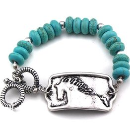 AWST Bracelet - Turquoise Beaded with Horse
