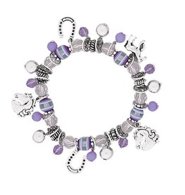 AWST Bracelet - Purple Beaded and Horse Charms