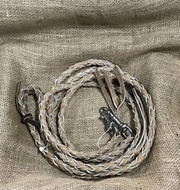 Details about  /Showman 8/' Braided Nylon Reins w// Leather Poppers