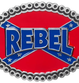 WEX Belt Buckle - Rebel on Confederate Flag with Decorative Border