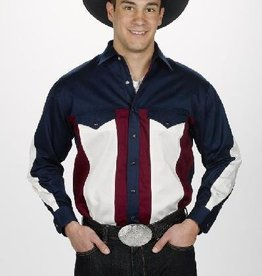 WEX Mens Western Shirt, Navy/Cream/Blue, Medium Only - Reg $45.50 @ 60% OFF!