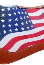 "Showman American Flag Printed Solid Felt Saddle Pad - 31""x32"""