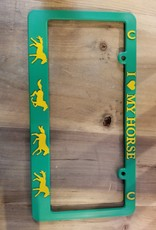 I Love My Horse License Plate Frame Grn/Yellow Horses (Reg $12.95 now $8 OFF!)