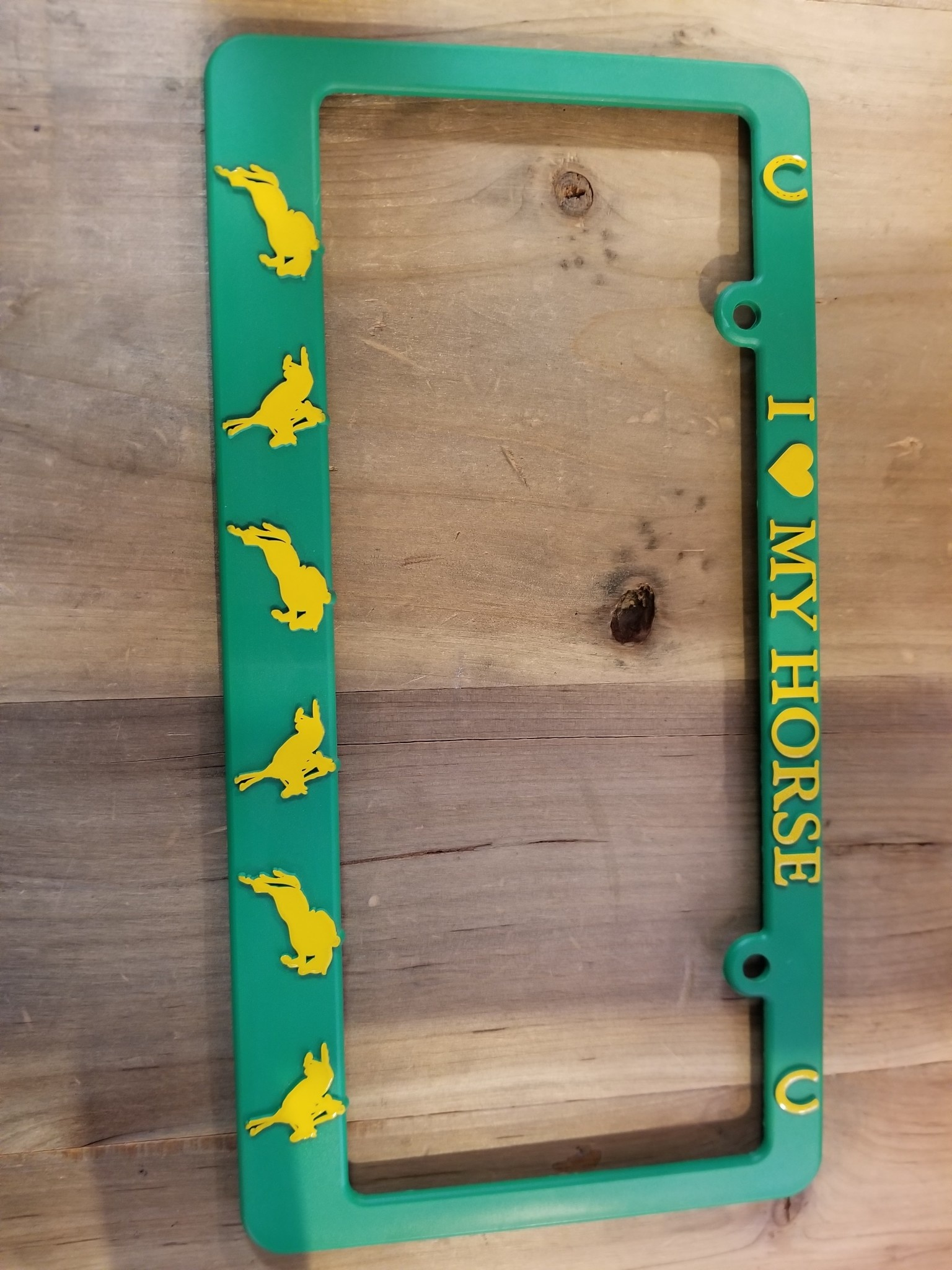 I Love My Horse Plate Frame Grn/Yellow Jumper Horses (Reg $12.95 now $8 OFF!)