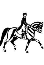 "Decal - White Vinyl Dressage Horse 3.5"""