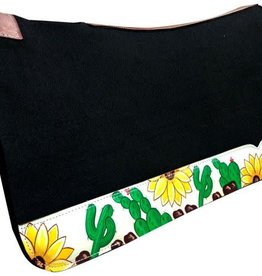 "Showman Showman Felt Saddle Pad - 31"" X 32"" Cactus & Sunflower"