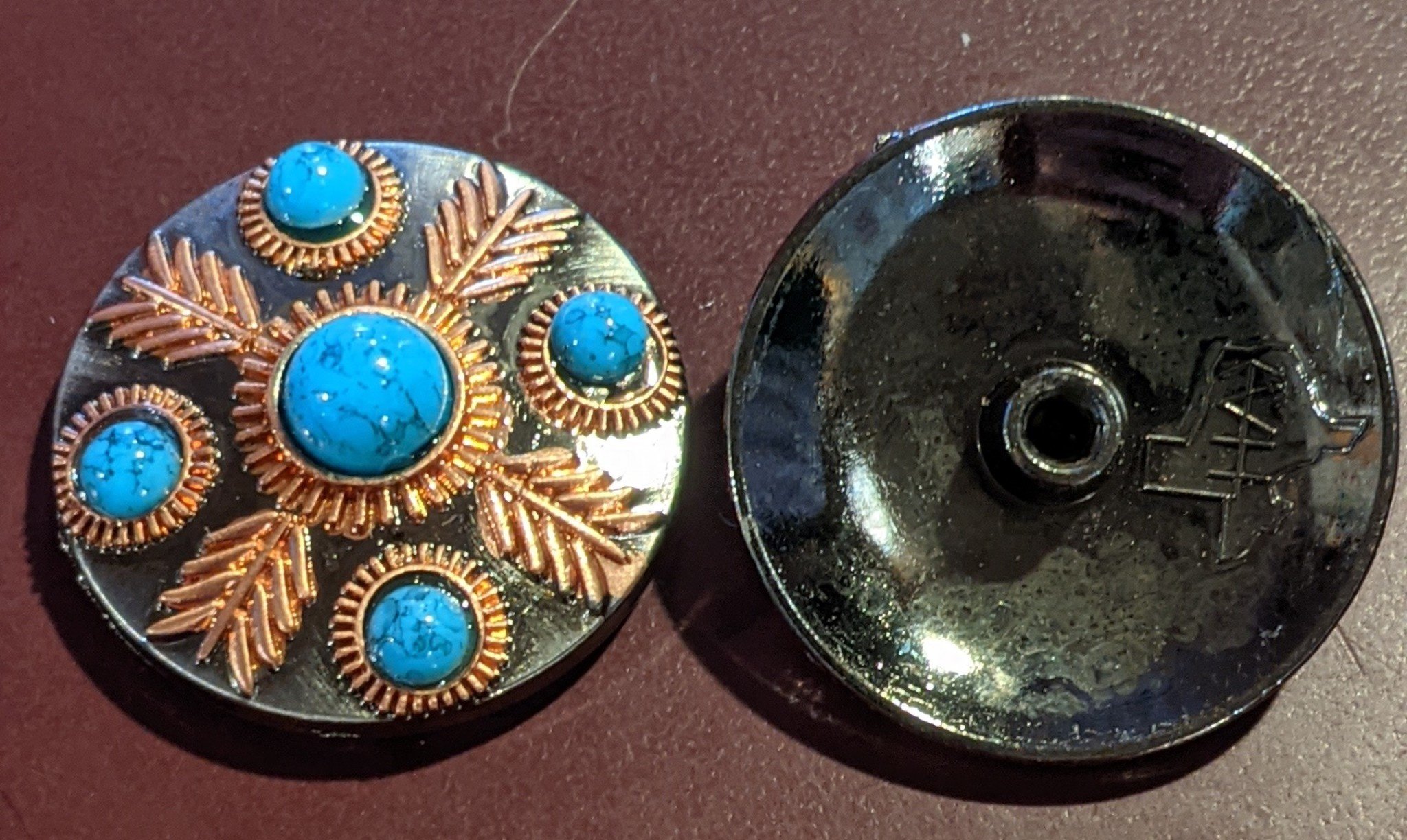 """1.25"""" Concho - Turquoise and Copper Accents"""
