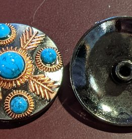 "1.25"" Concho - Turquoise and Copper Accents"