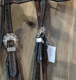 Lamprey Stitched Leather Headstall, Fancy Buckle - Horse Size