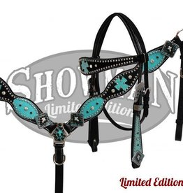 Showman Showman Limited Edition Black and Turquoise Tack Set