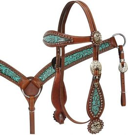 Showman Showman Filigree Inlay Teal Tack Set