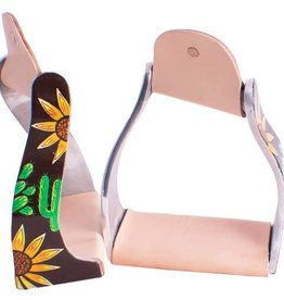 Showman Twisted Angled Aluminum Western Stirrups with Sunflowers & Cactus