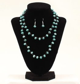 Set - Necklace/Earring - Turquoise Glass Beads
