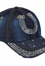AWST Ball Cap - Denim & Silver Bling Horseshoe