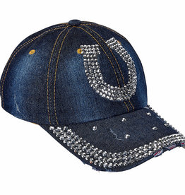 AWST Ball Cap - Denim & Silver Bling Horseshoe