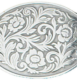 Belt Buckle - Oval with Floral Pattern