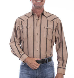 Scully Leather Men's Scully Constructed Piece Stripe Shirt - Tan