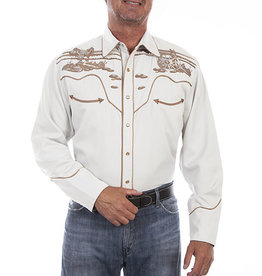 Scully Leather Men's Scully Wagon Wheel Embroidered Shirt