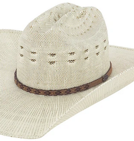Bent Rail Blaine Cattleman, Ivory/Chocolate - Bangora Straw