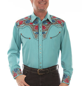 Scully Leather Men's Scully Floral Tooled Snap Front Shirt