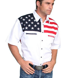 Scully Leather Men's Scully American Flag Motif Shirt, SS