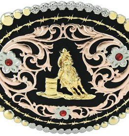 Western Fashion Accessories Belt Buckle - Barrel Racer Pink w/Crystals