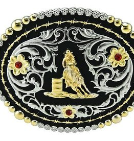 Western Fashion Accessories Belt Buckle - Barrel Racer Silver w/Crystals