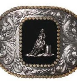 Western Fashion Accessories Belt Buckle - Barrel Racer w/ Engraved Edges