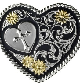 Western Fashion Accessories Belt Buckle - Heart, Cross, Gold Petals, Rope Edge