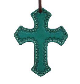 Alamo Saddle Charm Turquoise Cross with Shell tooled Border