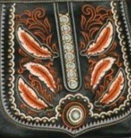 Handbag - Cross Body Purse with Feather Tooling - Black
