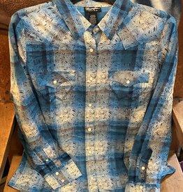 Wrangler Women's Wrangler Blue Long Sleeve Western Fashion Shirt