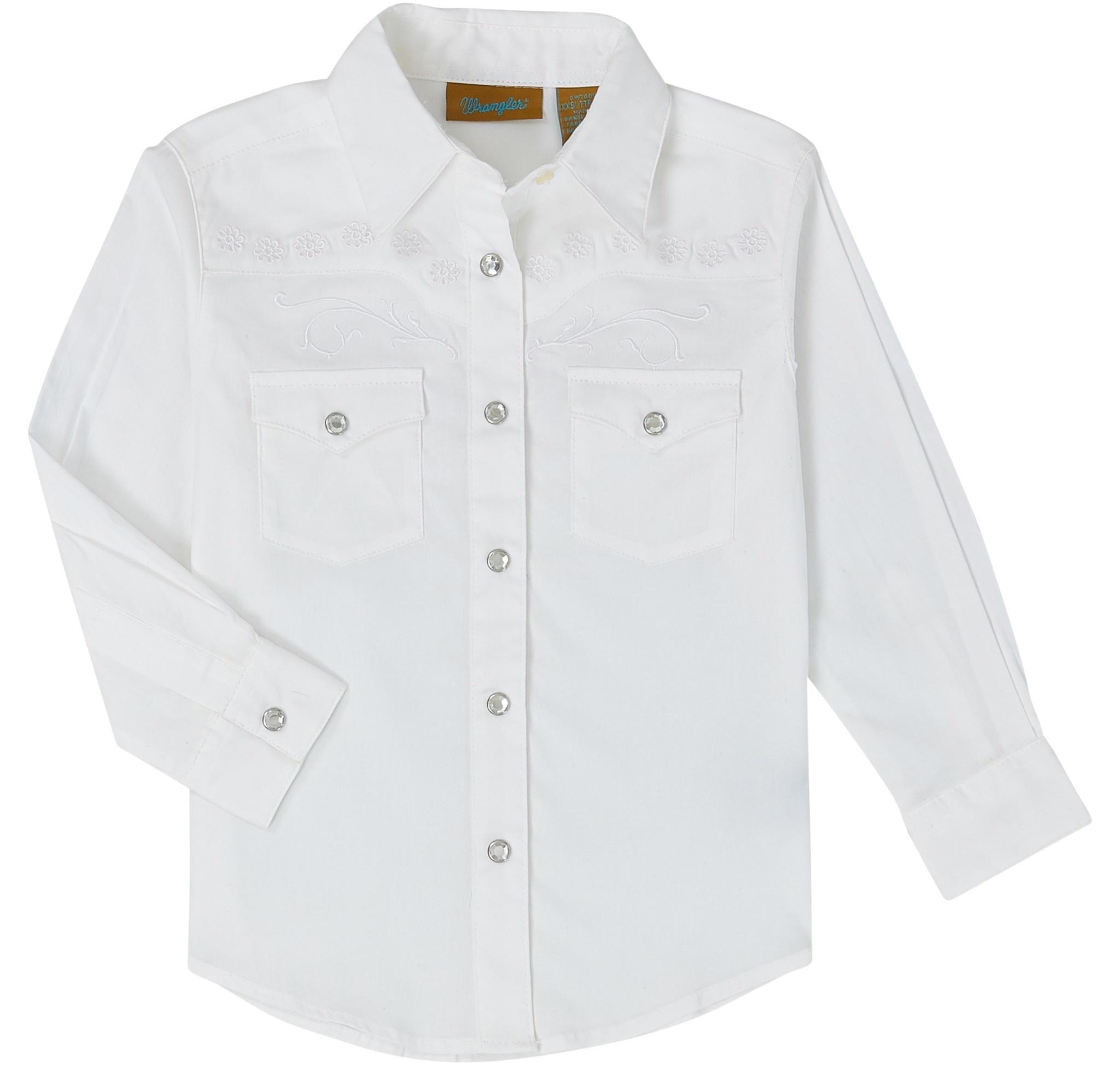 Wrangler Girl's Wrangler White Western Snap Shirt
