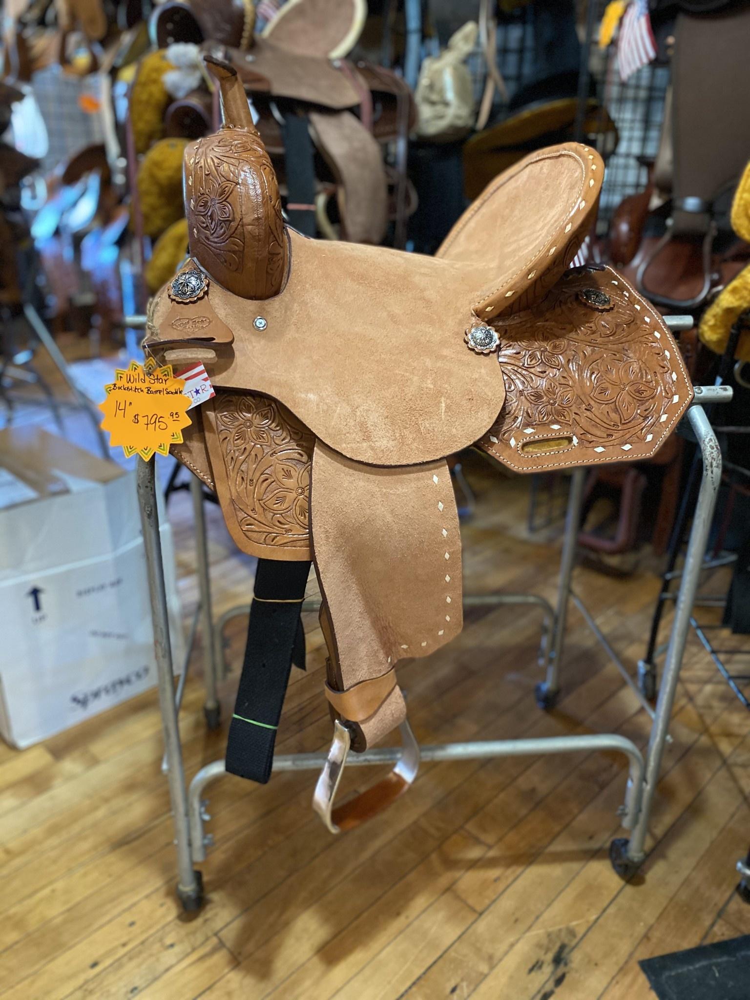 "14"" Wild Star Buckstitch Barrel Saddle - Inlay Seat"