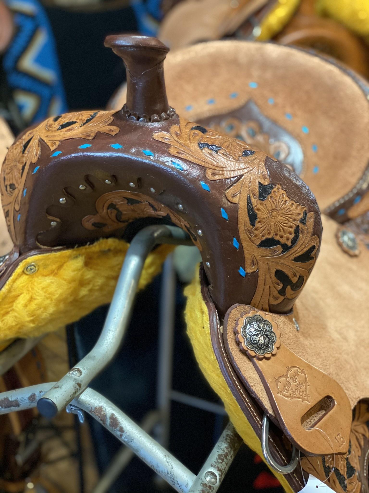 "13"" Wild Star Youth Barrel Saddle - Turquoise Buck Stitch"