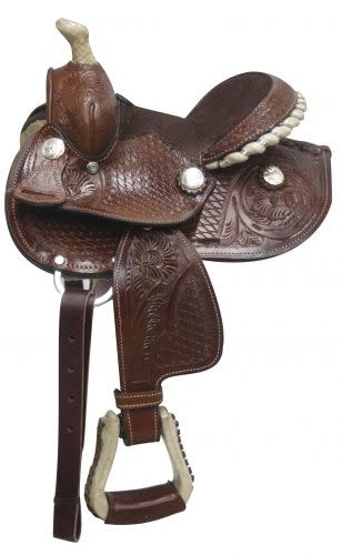 "Double T 7"" Mini Bar Tooled Western Saddle"